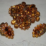 SALE Burnt Sienna With Large Pave' Icing Tiered Brooch Set