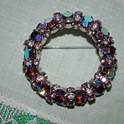 SALE Warner All AB Stones - Explosion of Color - Brooch
