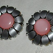 SALE Grey and Pink Thermoset Flower Earrings