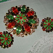 SALE Goldtone and Rhinestones Brooch and Earring Set - Oranges and Olives