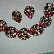 SALE Gorgeous Pinks and Faux Pearls - Bracelet and Earring Set