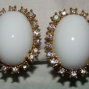 SALE Marvella Large Cabochon Set Stone with Clear Rhinestones Earrings