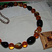 SALE Gorgeous Lucite Marbled, Black and Tan Beaded Necklace with Goldtone Pendant
