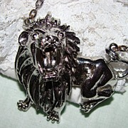 SALE Silvertone Full Dimension Lion Pendant Necklace