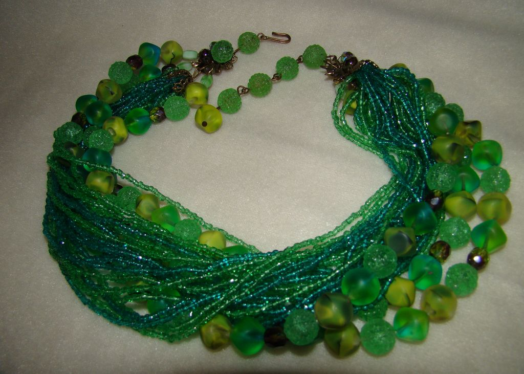 Turquoise and Green Seeds Beads and Mix of Three Strands Beaded Necklace - Truly Incredible