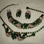 SALE Absolutely Stunning Weiss Emerald Green with Pave' Icing Detail Necklace, Bracelet and Ea