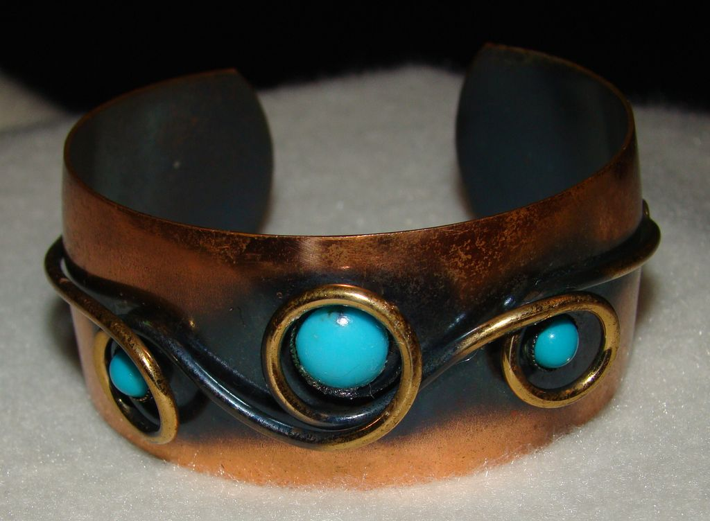 Genuine Copper and Faux Turquoise Ornate Cuff Bracelet