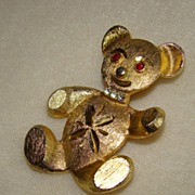 SALE PENDING 1950's Marvella Etched Goldtone Teddy Bear Brooch With Rhinestones