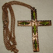 SALE Goldtone Cross with Peridot Rhinestones