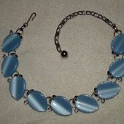 SALE Lovely Baby Blue Leaf Thermoset and Silvertone Swirls Necklace
