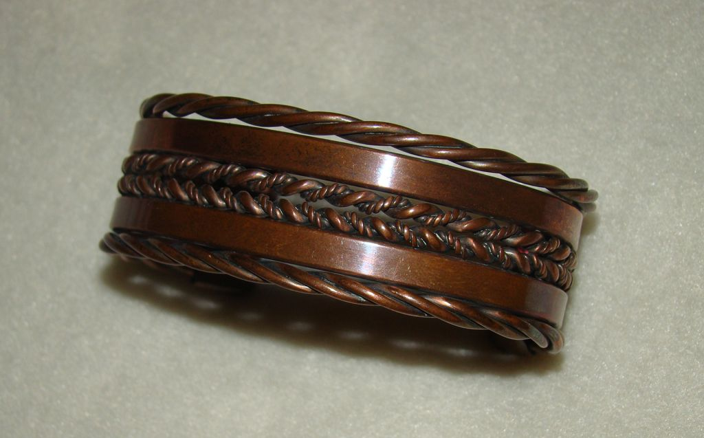 Solid Copper Woven Braids and Bars Bracelet