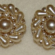 SALE Off White Faux Pearl Clipback Earrings