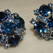SALE Stunning Continental Sapphire and Topaz Earrings
