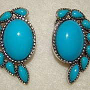 SALE Cabochon Set Faux Turquoise Earrings