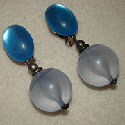 SALE Incredible Translucent Lucite Earrings in Shades of Blue