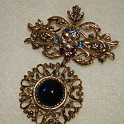 SALE Absolutely Stunning Leaf and Flower with Rhinestones Brooch - With Dangling Looped Patter