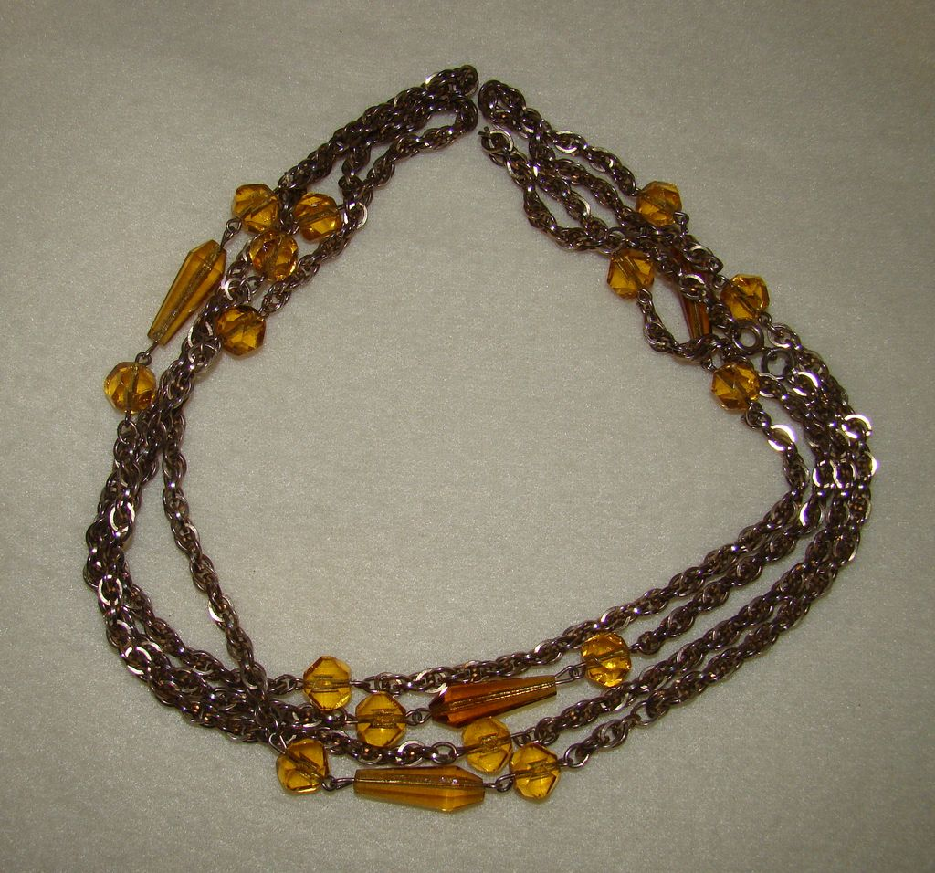 Long Baltic Amber and Double Loop Silvertone Necklace