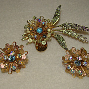 SALE Three Gorgeous Flowers with Aqua Blue Rhinestone Centers - Brooch Set