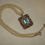 SALE 1945 Coro Topaz Rhinestone and Faux Pearl Pendant on Faux Pearl Necklace