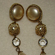 SALE 1970's Carolee Faux Pearl, Goldtone Findings and Crystals - Earrings