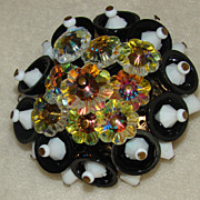 SALE Black and White Resin Beaded Brooch with Margarita Stones