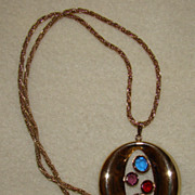 SALE Pendant Necklace with Crystals in the Center - Gorgeous Necklace
