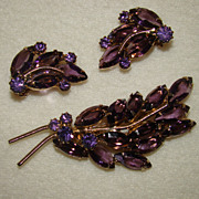 SALE Gorgeous Juliana Amethyst Navette Brooch and Earring Set