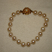SALE Japan Off White Faux Pearls with Ornate Floral Clasp