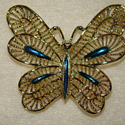SALE Gerry's Goldtone Butterfly with Aqua Enamel Accents - Brooch