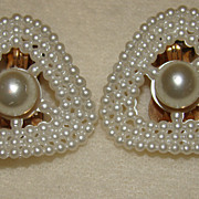 SALE Gorgeous White Faux Pearl Concave Earrings - Lovely