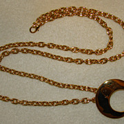 SALE Gorgeous Long Chain Goldtone Necklace with Pendant and Faux Pearls