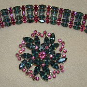 SALE Blue and Pink Rhinestone Bracelet and Brooch Set - Stunning