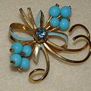 SALE Made in Austria Blue Beads and Rhinestones Bows Brooch