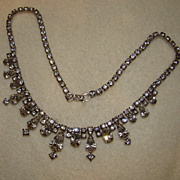 SALE Kramer 1940's Clear Rhinestone Necklace