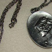 SALE Pewter Cameo Style Pendant Necklace