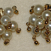 SALE Clusters of Faux Pearl Earrings