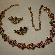 SALE Coro Amber, Emerald and Tan Rhinestone and Goldtone Twist Necklace and Earring Set