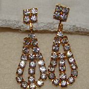 SALE Stunning Crystal Clear Rhinestone Drop Earrings