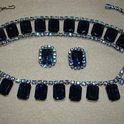 SALE Full Parure of Large Rectangle Sapphires Rhinestones with Light Blue Rhinestone Accents