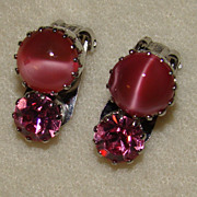 SALE Pink Faux Cats Eye and Pink Rhinestone Earrings - Absolutely Beautiful