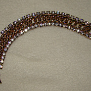 SALE Goldtone Chain Bracelet with Splendid Clear Rhinestones on Each Side