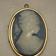 SALE High Relief Ivory Lady in Blue Photo Locket Pendant