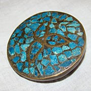 SALE 1900 India Handmade Inlaid Genuine Turquoise and Bronze Brooch