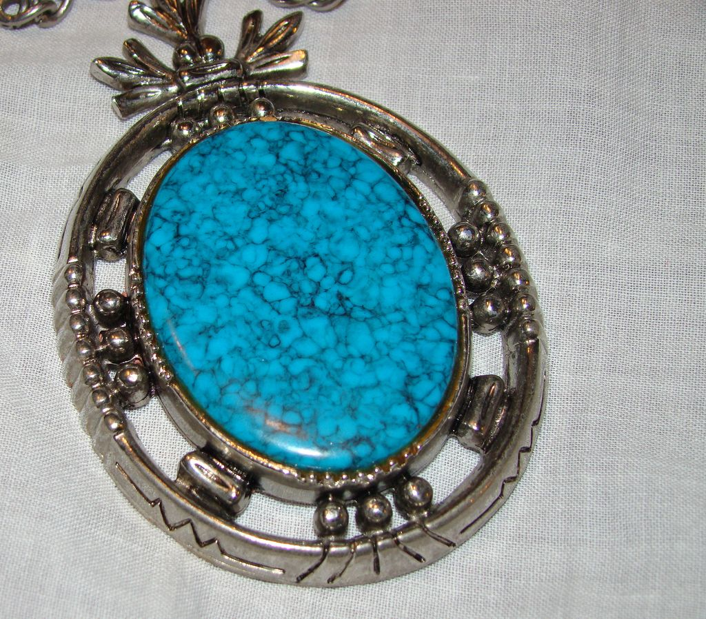 ART Large Pendant with Simulated Turquoise Cabochon