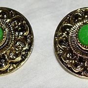SALE Green Beaded Cabochon Earrings - Ornate Background