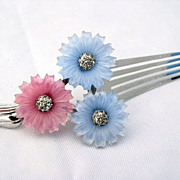 Rare Vintage Mazer Pastel Fruit Salad Flower Hair Comb