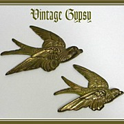 Vintage Little Brass Birds Wall Art