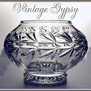 Vintage Crystal Clear Heavy Bohemian Glass Flower or Candle Bowl