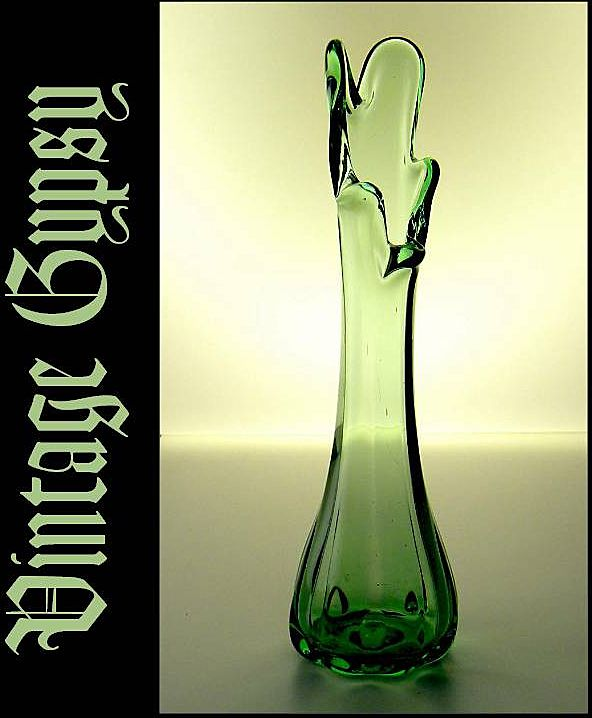 Vintage Green Swung Glass Vase