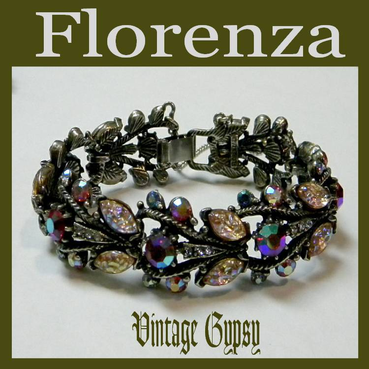 Florenza Signed Rhinestones & Poured Glass Link Bracelet